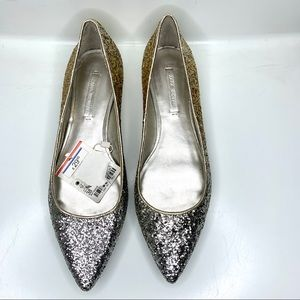 Zara Woman Glitter Pointed Toe Flats